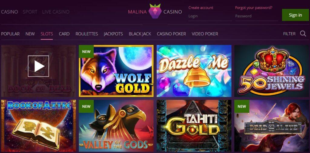 Giochi presenti su Malina Casino online