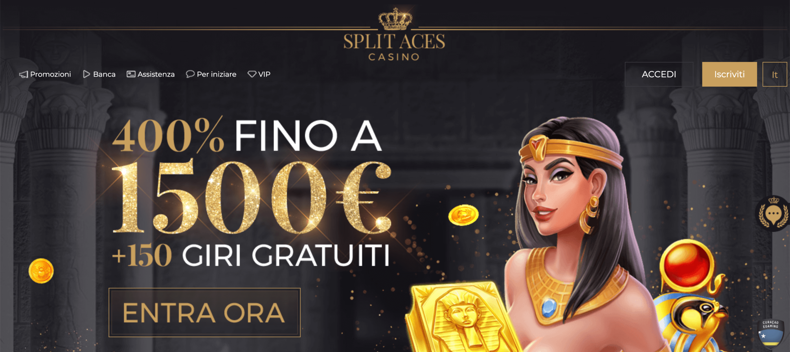 Bonus benvenuto Split Aces Casino