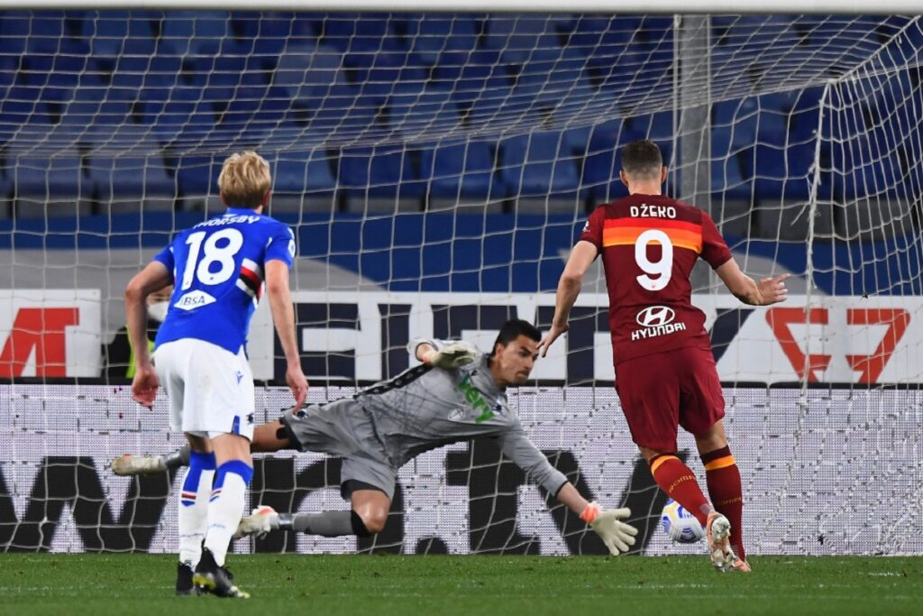 rigore Dzeko, Sampdoria-Roma