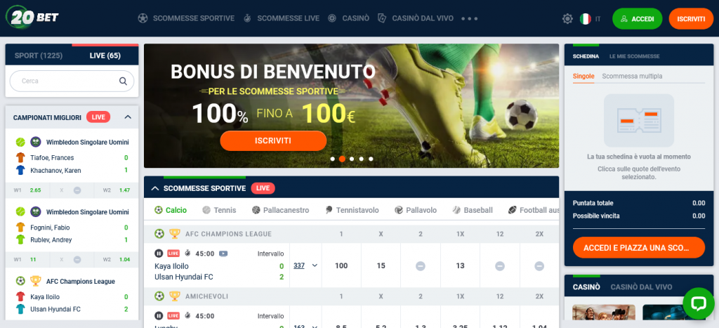 sito 20Bet Scommesse